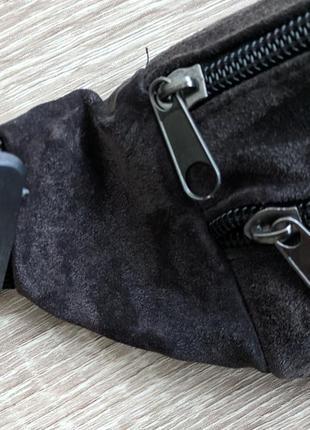Бананка натуральная кожа, стильная сумка на пояс темно коричневый с оттенком баклажана3
