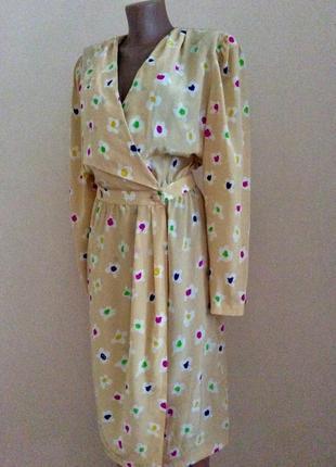 Нежное платье  на запах в цветочный принт натуральный шелк