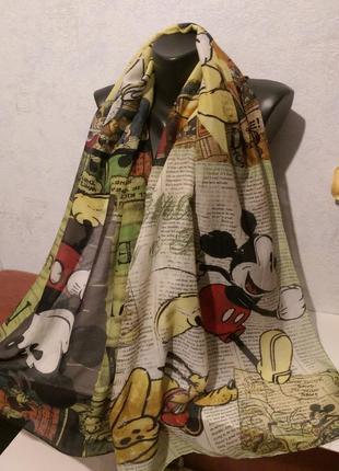 Яркий шарф дисней шелк+хлопок