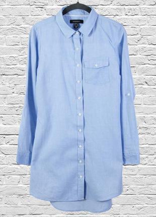 Короткое платье-рубашка в полоску, платье рубашка голубое