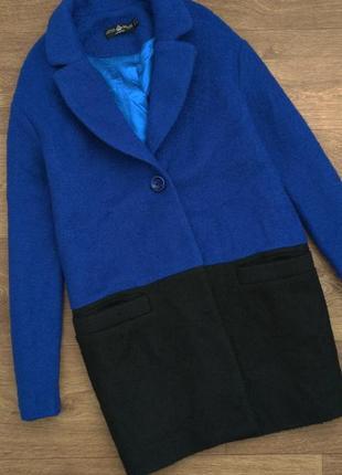 Пальто бойфренд букле кокон оверсайз синее чёрное little mistress