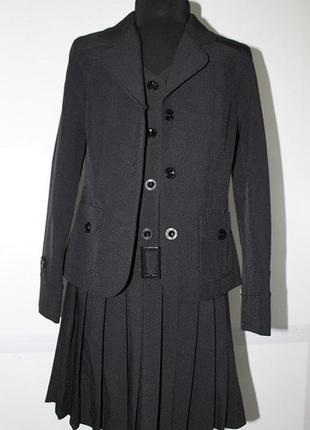 Темно-синяя школьная форма костюм-тройка на девочку 150-158 см
