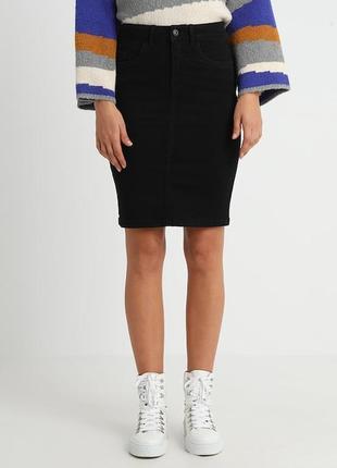 Вельветовая черная юбка карандаш l,46-48 colin's