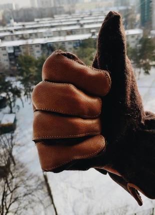Крутые кожанные с шерстью перчатки mustang / теплые рукавицы размера l