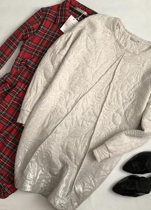 Невероятное платье свитшот с напылением и объемными рукавами zara