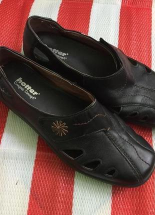 Hotter мегаудобные шикарные кожаные туфли - мокасины - 6 размер - 39 р-р