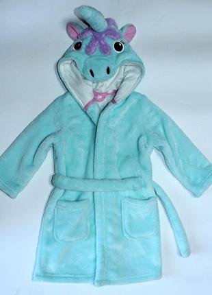 Мягкий велюровый халат единорожек от marks&spencer