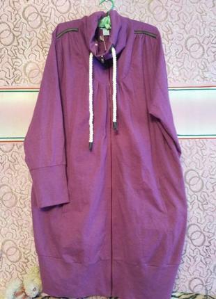 Трикотажная кофта, платье, кардиган, свитшот большого 60 размера на молнии