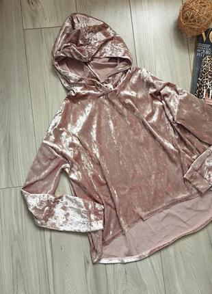 Очень уютный бархатный свитшот свободного кроя, толстовка с капюшоном, ткань переливается