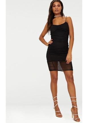 Платье черное сетка prettylittlething