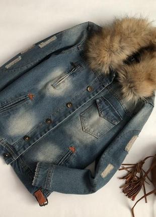 Трендовая утепленная джинсовая куртка с потертостями jeffrey r