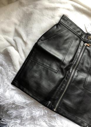 Новая кожаная юбка xs-s