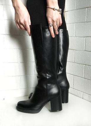 Сапоги из натуральной черной кожи, на меху, зимние, средний каблук, 36-40