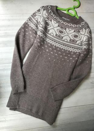 Шикарный очень тёплый удлинённый свитер туника в снежный орнамент