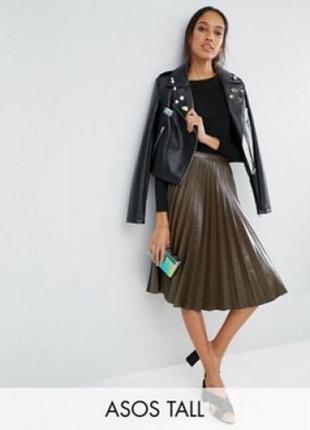 Плиссированная юбка миди из искусственной кожи asos tall