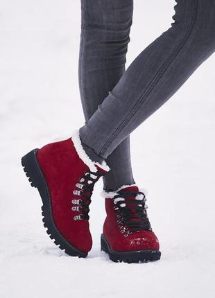 Новые зимние красные замшевые ботинки размер 36,37,38,39,40,41