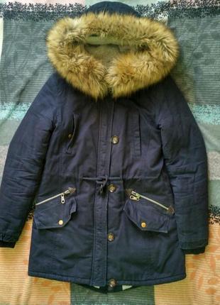 Парка темно-синяя пальто зимнее с мехом капюшоном