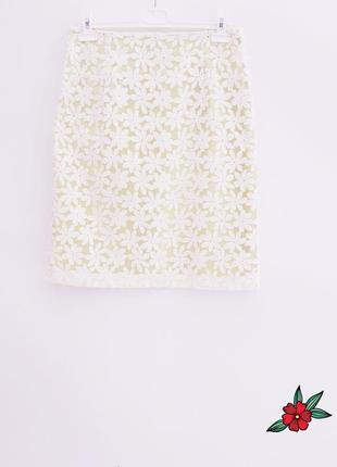 Шикарная юбка миди сказочная юбка ажурная набивная вышивка