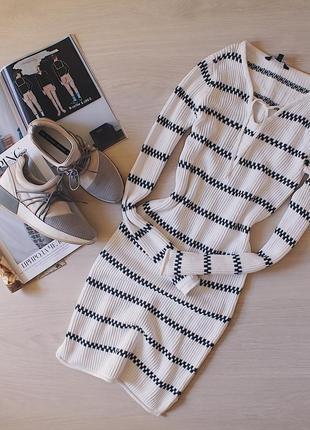 Обтягивающее вязаное платье 100% хлопок