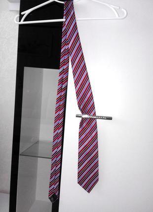 Стильный красно синий галстук m&s