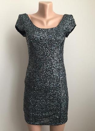 Платье мини в паетки