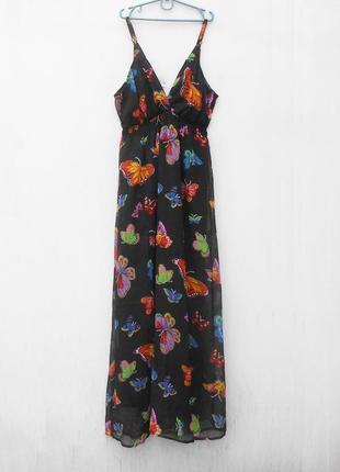 Летнее легкое свободное платье в пол c орнаментом бабочки