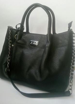 Сумка женская черная, женская сумка эко-кожа, сумка женская кожзам
