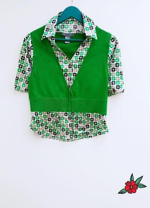 Очень красивый джемпер зеленый джемпер с рубашкой nyx