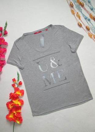 Трикотажная мягкая футболка серый меланж с надписью s`oliver