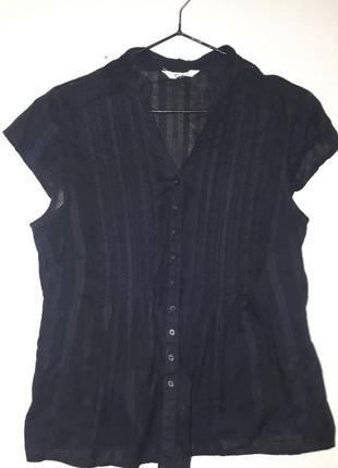 Женская блузка рубашка с коротким рукавом под пиджак m&co l xl