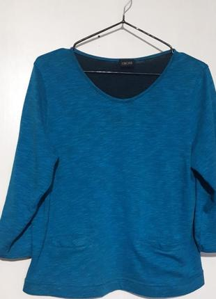 Кофта женская свитшот бирюзовый с карманами джемпер