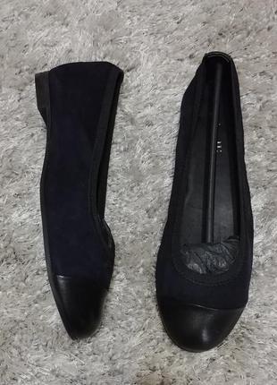 М'які балетки minelli нат.замш/нат.шкіра р.38. синьо-чорний колір.