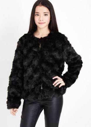 Актуальная меховая шубка new look, полушубок стильный черный