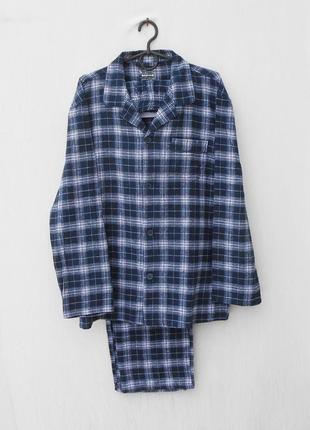 Мягкая теплая баевая пижама в клетку для сна и дома  100% котон