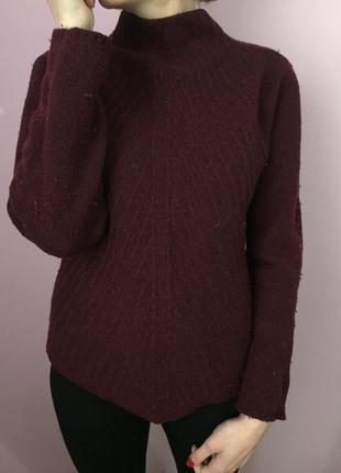 Тёплый кофта свитер актуального цвета марсала