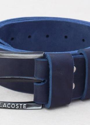 Широкий ремень мужской для джинс lacoste синий