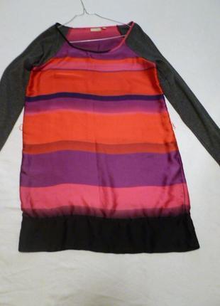 Простое очень классное стильное шелковое + трикотажное платье туника fransa