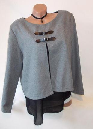 Свободная плотная блуза с ремешками кофточка джемпер двухслойная