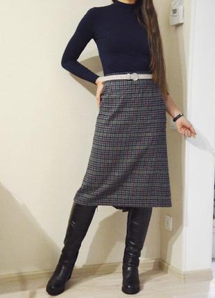 Шерстяная юбка за колено в мелкую клетку, винтаж размер 10