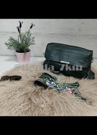 Повседневный клатч через плечо из натуральной кожи 5063 green