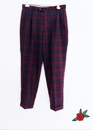 Крутые брюки мужские брюки штаны в клетку шерстяные теплые штаны