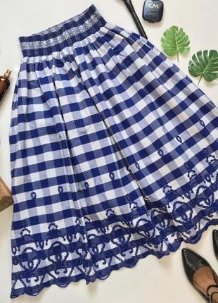 Миди юбка в клетку на широкой резинке с карманами от zara s/36/8.