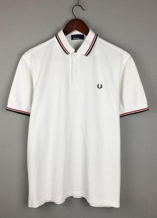 Хлопковая футболка fred perry белое поло футболка с воротником