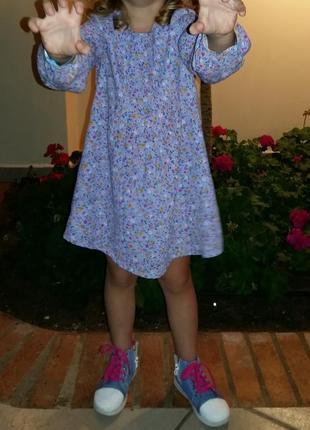 Шифоновое нежное платье с длинным рукавом mothercare на 4-5 лет