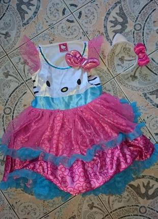 Невероятный набор платье и обруч hello kitty sanrio оригинал 4-6 лет