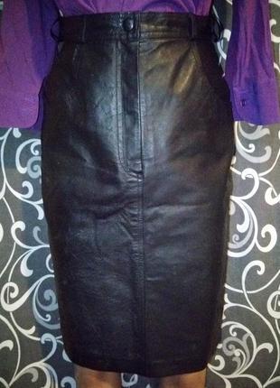 Кожаная юбка миди высокая посадка кожа100%