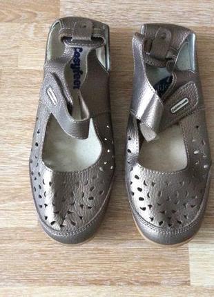 Классные кожаные летние туфельки, мокасины, босоножки, сандалии cushion walk