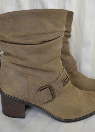 Сапоги ботинки кожаные замшевые нубук 40 размер clarks италия