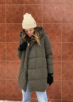 Зимний пуховик. женская куртка. new look. для беременных. длинная