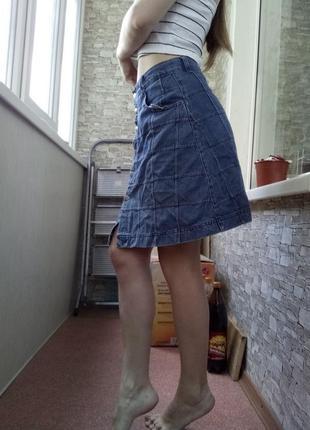 Джинсовая юбка трапеция с высокой посадкой талией